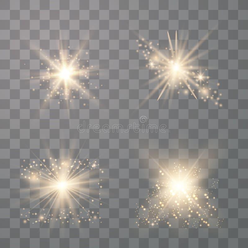 设置金黄发光的光 向量例证