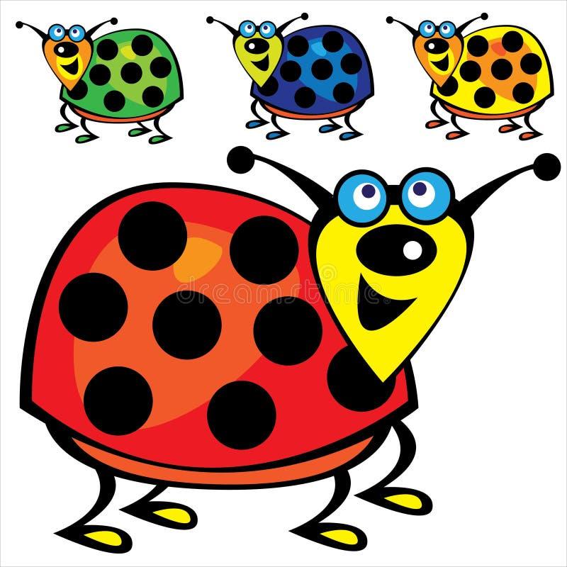 被设置的五颜六色的逗人喜爱的瓢虫 向量例证
