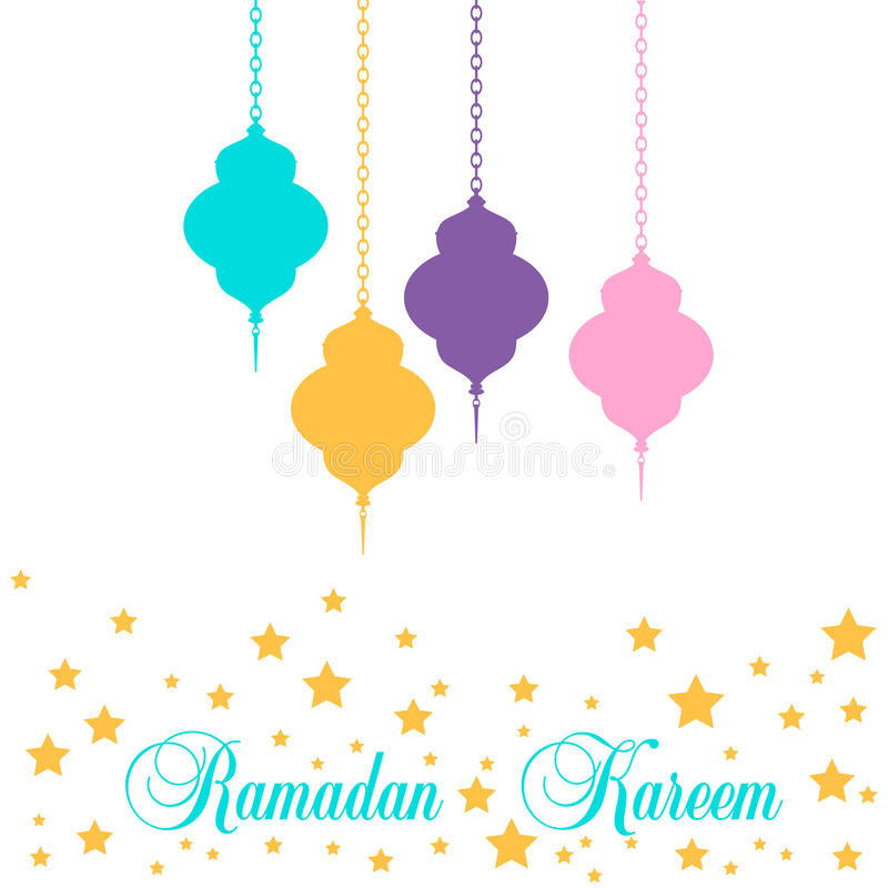 Рамадан Карим Фонарь в плоском стиле стоковое фото rf