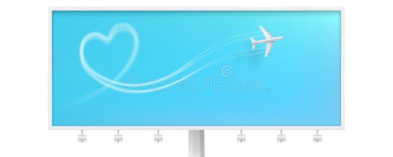 E Aanplakbord met rokerig lijnspoor van lijnvliegtuig Realistisch pictogram van royalty-vrije illustratie