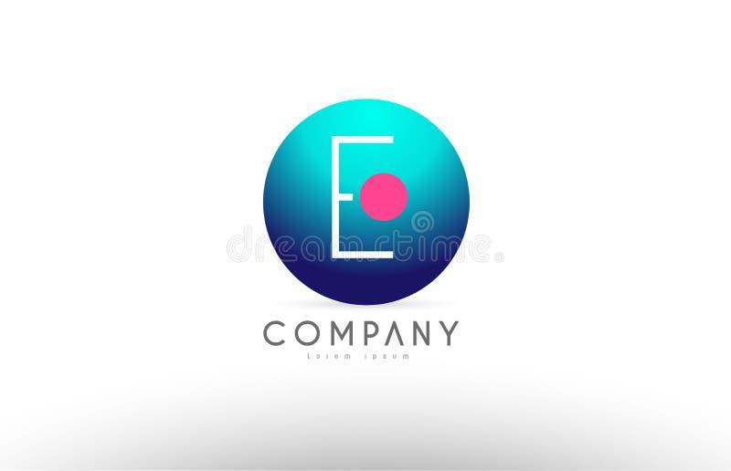 E abecadła 3d sfery listu błękita menchii loga ikony projekt ilustracji