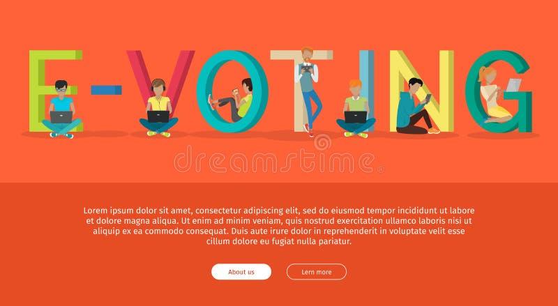 E-Abstimmungskonzept-Netz-Fahne im flachen Design vektor abbildung