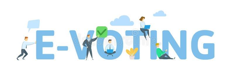 E-Abstimmungskonzept von jungen Leuten unter Verwendung der mobilen Geräte für die on-line-Abstimmung Konzept mit Schlüsselwörter lizenzfreie abbildung