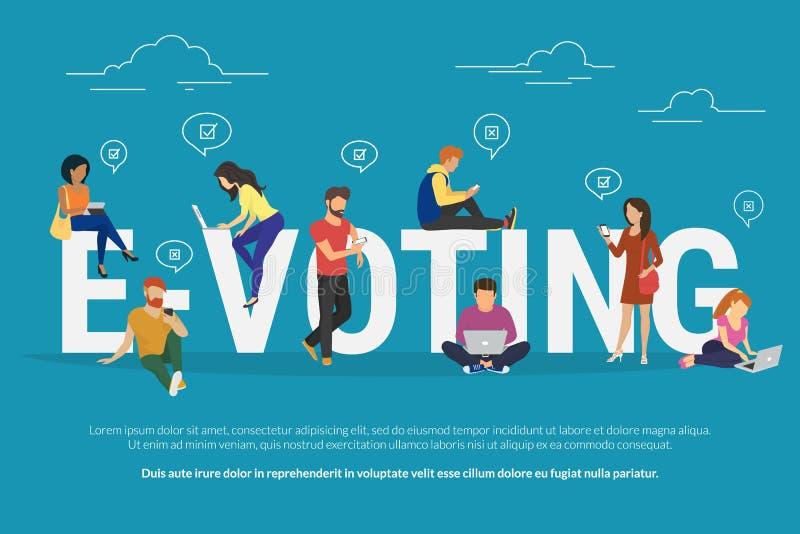 E-Abstimmungskonzeptillustration stock abbildung