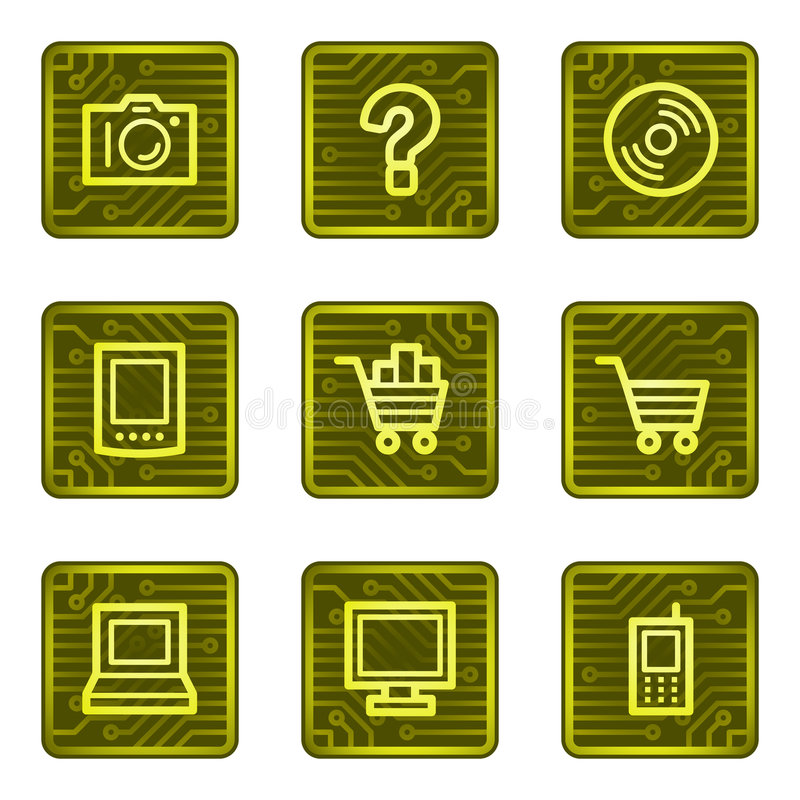 E-acquistano le icone di Web, serie della scheda di elettronica illustrazione di stock