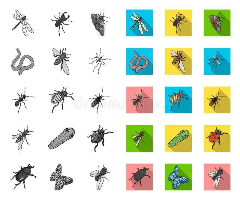 E Actions isom?triques de symbole de vecteur d'arthropode d'insecte illustration libre de droits