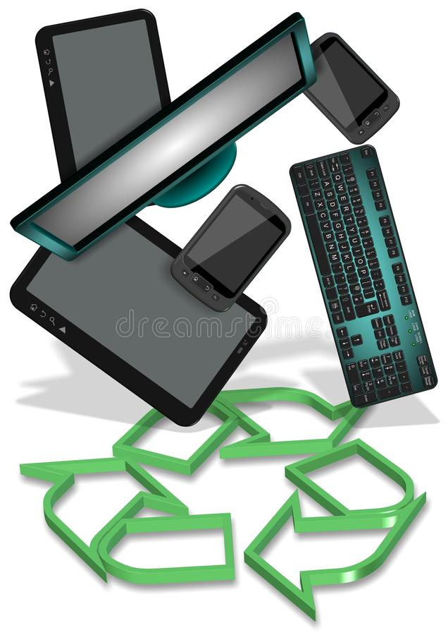E-afval recycling stock illustratie