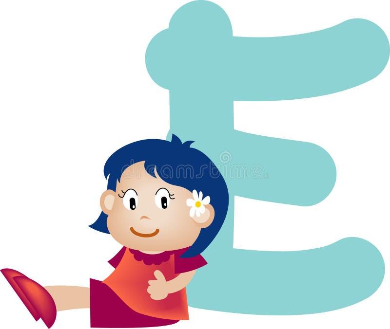 e alfabet dziewczyny list ilustracja wektor