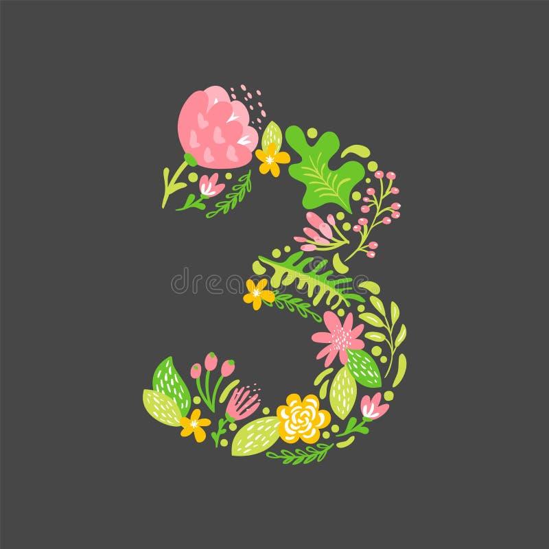 E Alfabet In hoofdletters van het bloem het Hoofdhuwelijk Kleurrijke doopvont met bloemen en bladeren Vector stock illustratie