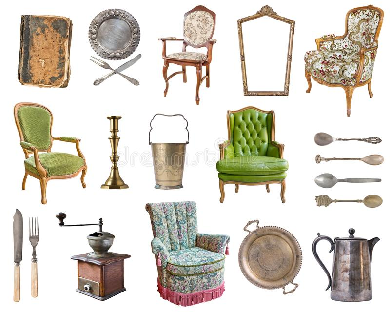 E Alte Teller, Geräte, Kessel, Stühle, Bücher, Kaffeemühle, Kerzenständer, Bilderrahmen stock abbildung