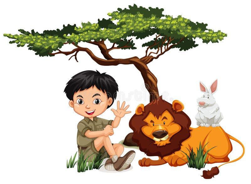 A.A. e animais selvagens ilustração royalty free