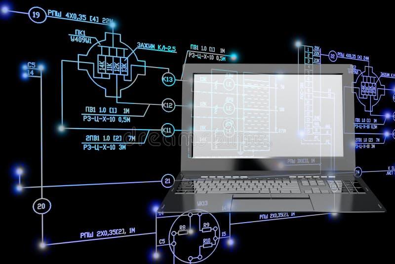 E-anslutning teknikteknologi royaltyfri illustrationer