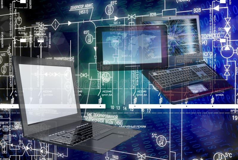 E-anslutning teknikteknologi vektor illustrationer