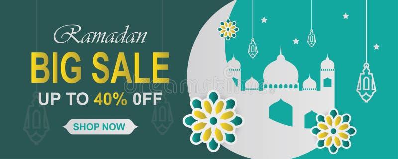E Arabesquebloemen, traditionele lantaarns, halve maan en vector illustratie