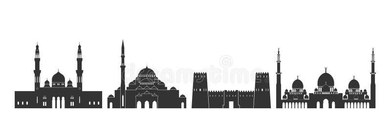 E Arquitectura aislada de Abu Dhabi en el fondo blanco