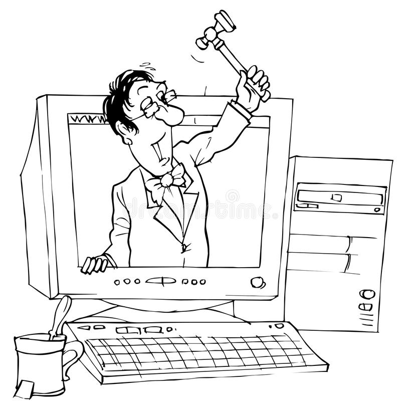 E-auction. Black and white illustration: e-bidder with hammer looks out of the computer monitor stock illustration