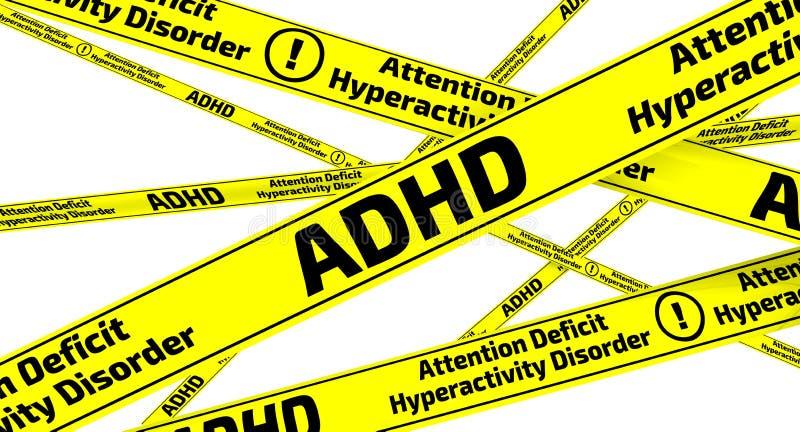 E Aufmerksamkeits-Defizit-Hyperaktivitäts-Störung Gelbe warnende Bänder lizenzfreie abbildung