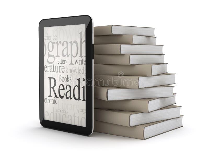 E-böcker - minnestavladator och bunt av böcker royaltyfri illustrationer