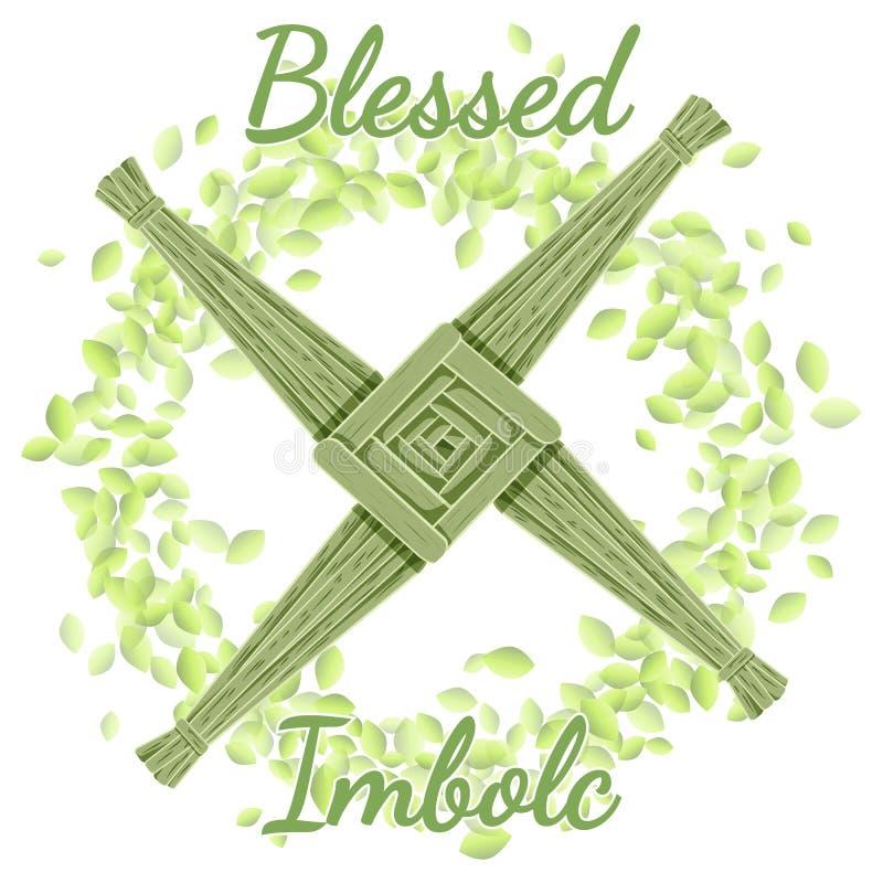 E B?rja av hednisk ferie f?r v?r Brigid Cross i en krans av gr?na sidor stock illustrationer