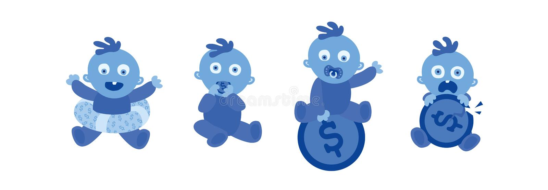 E Baby en geld r Vector illustratie stock illustratie