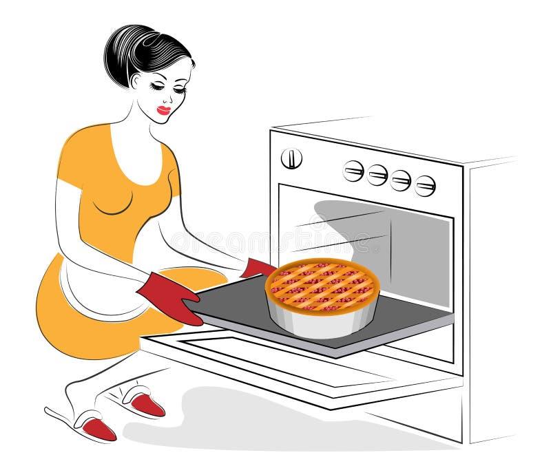E E Baka i ugnen en festlig paj med bär En kvinna är en bra hemmafru royaltyfri illustrationer
