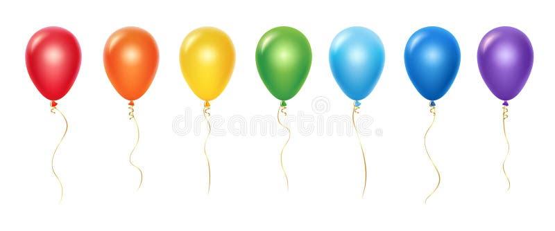 E Ballonger med band som isoleras p? vit bakgrund vektor illustrationer