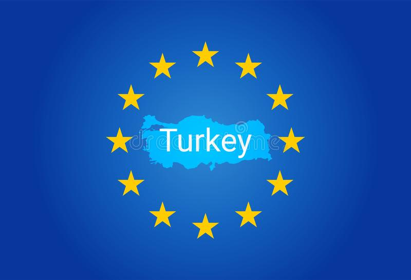E. - bandera de unión europea y mapa de Turquía Vector libre illustration