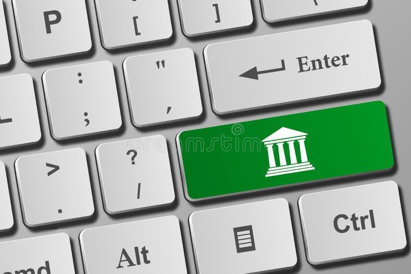 E-bankrörelsen byggande knapp på tangentbordet stock illustrationer