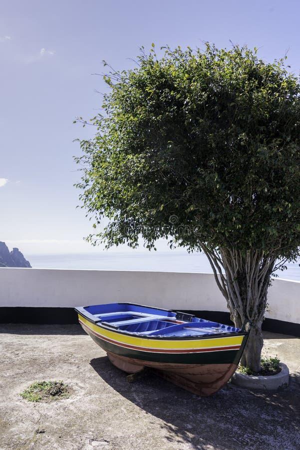 E barca di olivo alla linea costiera dell'oceano fotografie stock