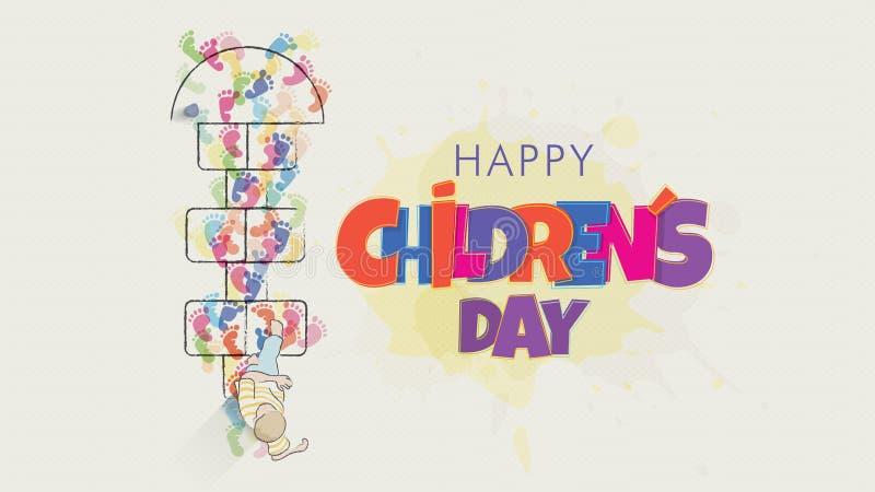E Barns teckning som över ses från att starta att hoppa leken av hoppa hage som dras på golvet stock illustrationer