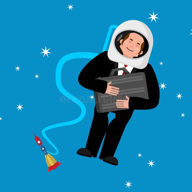 E Bedrijfsastronaut Chef- ruimtevaarder Vector stock illustratie