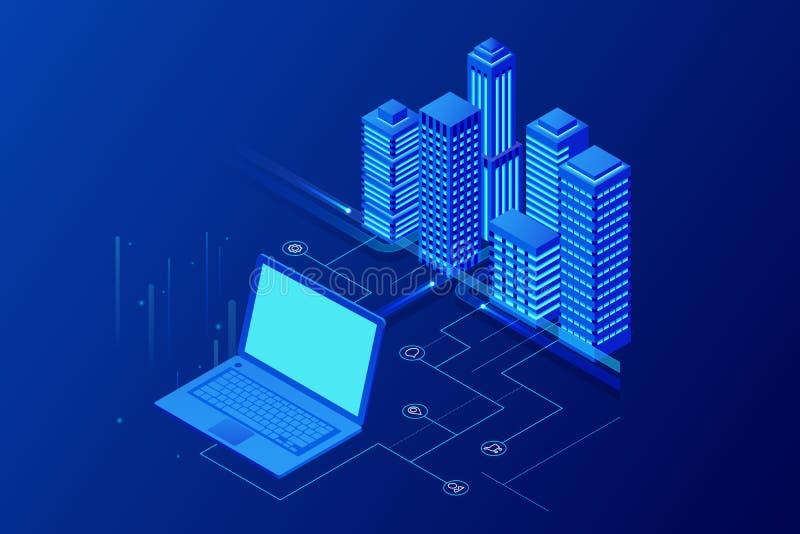 E Begreppswebsitemall Den smarta staden med smart service och symboler, internet av saker, knyter kontakt stock illustrationer