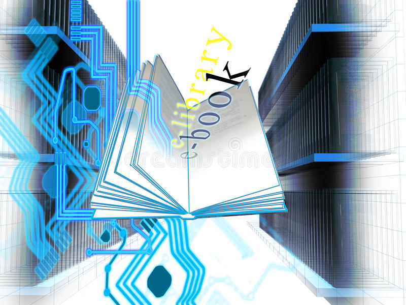 E-Bibliothek stock abbildung