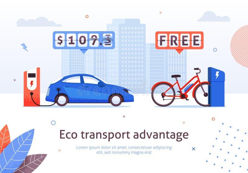 A E-bicicleta da estação de carregamento do carro elétrico livre recarrega ilustração do vetor