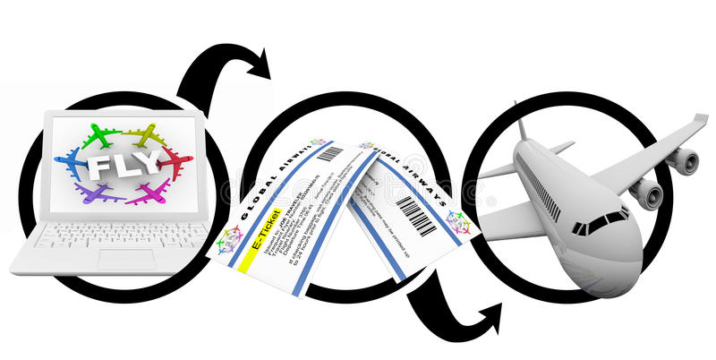E-Biglietti d'ordinazione di volo sul Internet - schema illustrazione di stock