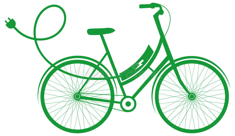 E-Bike electric bike. Electric bicycle vector icon or logo in green royalty free illustration
