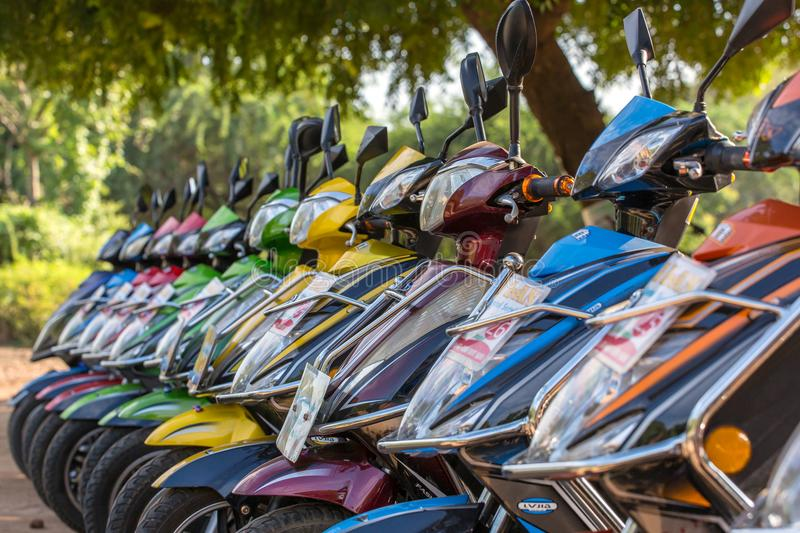 E-bikes for rent in Bagan, Myanmar. Bagan in central Burma is one of the worlds greatest archeological sites. Bagan, Myanmar - October 13, 2016: E-bikes for stock image