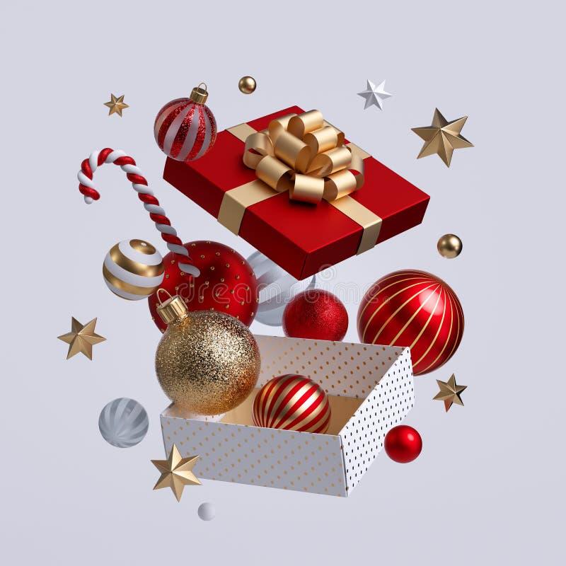 3e boîte de cadeaux de Noël ouverte, ornements qui s'envolent Images clipart de fête isolées sur fond blanc Décor de vacances d'h photos stock