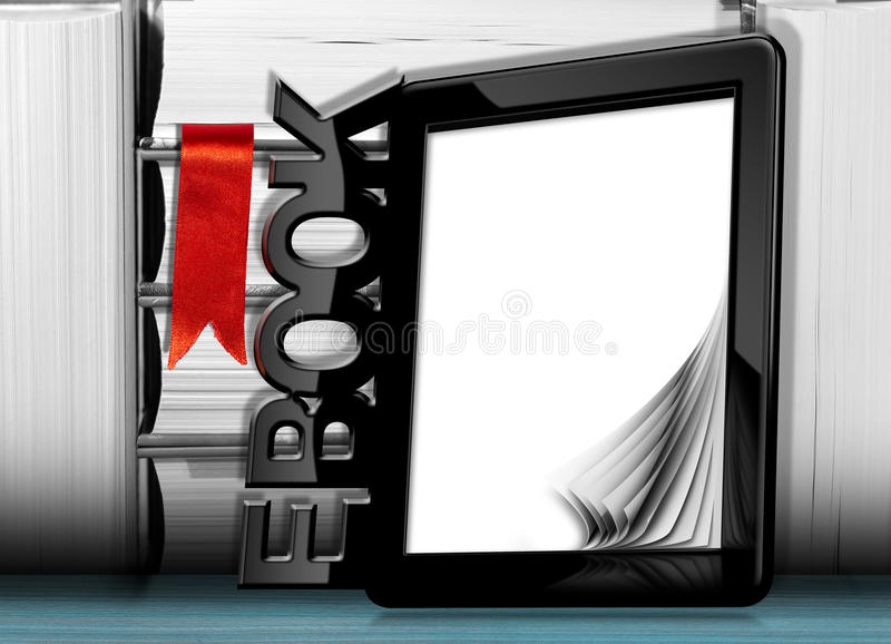 E-boek lezer met boeken stock illustratie