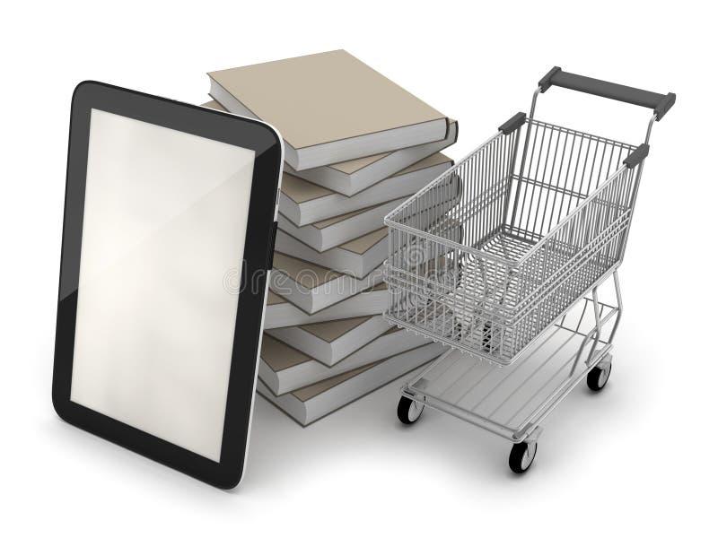 E-boekhandel - tabletcomputer; boodschappenwagentje en boeken vector illustratie