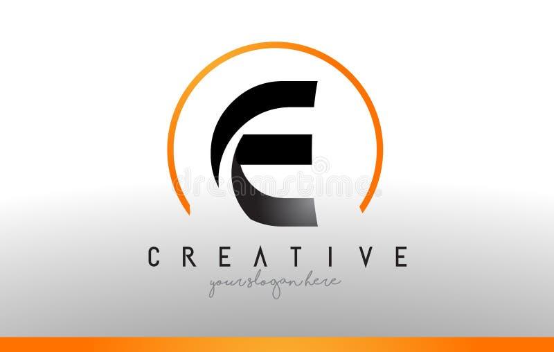 E-bokstav Logo Design med svart orange färg Kall modern symbol T vektor illustrationer