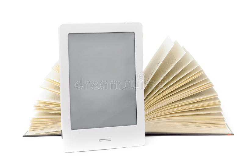 E-book. Isolated on the white stock photography