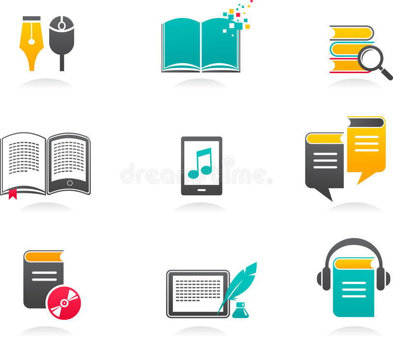 E-book, Audiobook And Literature Icons - 1 Royalty Free Stock Images