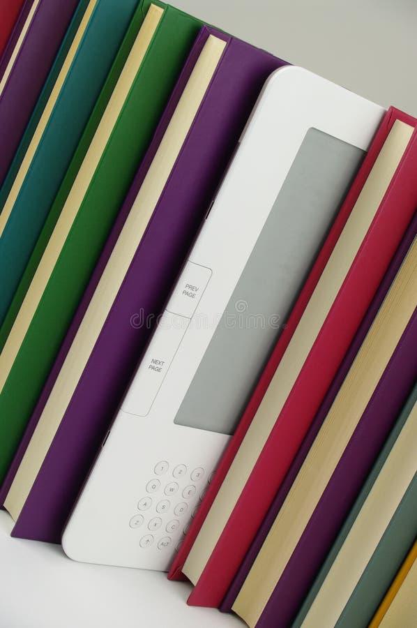 E book and colour paper books stock photos