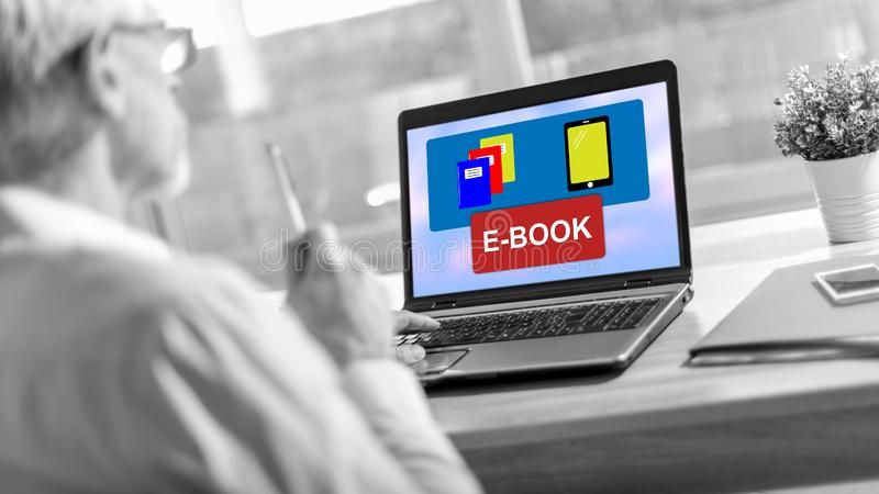 E-book concept on a laptop screen stock images