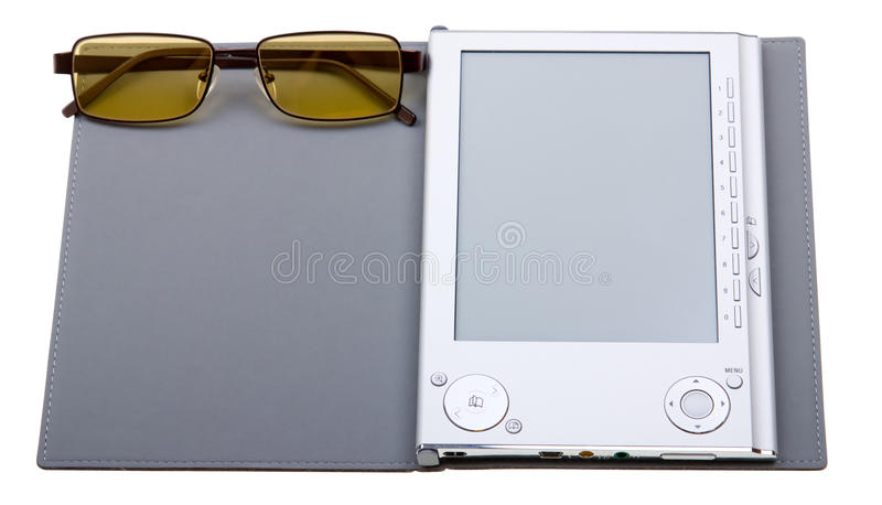 E-book with glasses isolated on white royalty free stock images