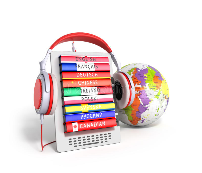 E-book with globe audio learning languages 3d render vector illustration