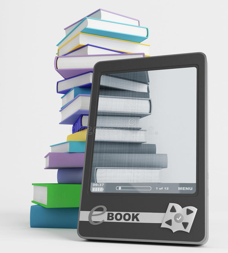 Download E-book and its content stock illustration. Image of literature - 26433642