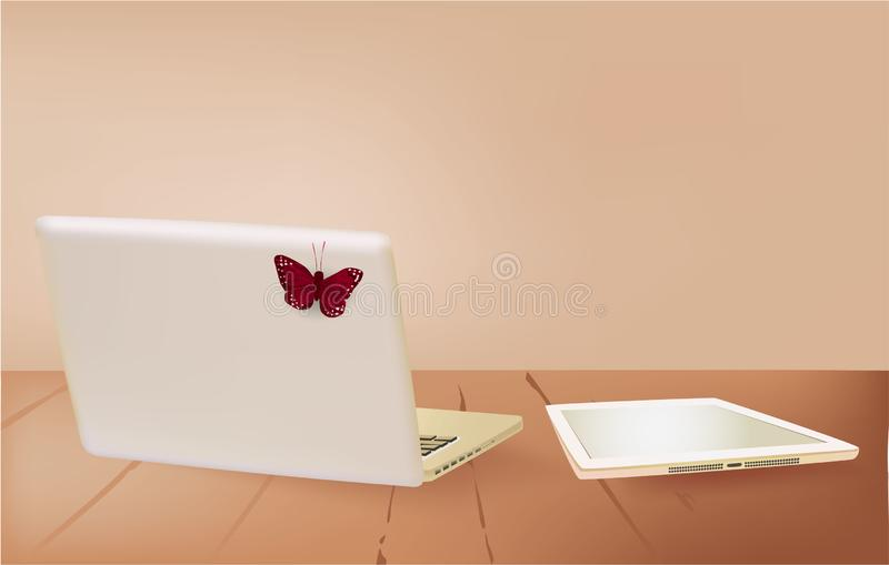 E-Book and laptop on the table, butterfly vector illustration