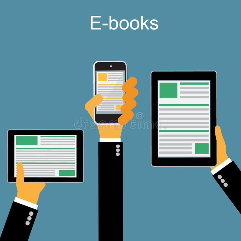 E-book. Mobile devices technology concept. Online reading and. Mobile devices technology concept. Mobile devices technology concept in flat style royalty free illustration